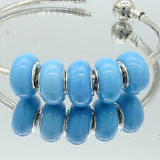 5PCS Silver Spacer European Charm Beads Fit Necklace Bracelet DIY V255