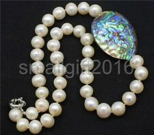 freshwater pearl white near round and abalone shell egg necklace 19inch