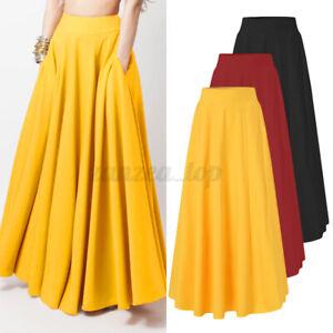 2021 UK Women Elastic High Waist Flare A-Line Skirt Casual Loose Long Maxi Dress