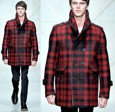 $3,195 Burberry Prorsum 40 50 Leather Trim Nova Check Pea Coat Winter Jacket Men