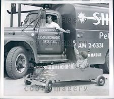 1959 Chicago Boy Driving Soap Box Car by Shell Fuel Truck Press Photo