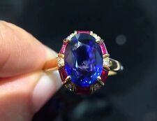 3Ct Oval Cut Ruby Blue Sapphire Halo Diamond Engagement Ring 14K Rose Gold Finsh