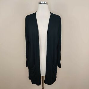 J. Jill Wearever Collection Black Open Cardigan Tab Sleeve L Large Stretch Knit