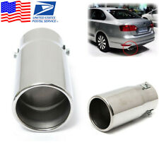 Car Chrome Flat Exhaust Pipe Tip Muffler Steel Stainless Trim Tail Tip Cover-USA