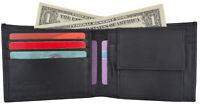 MEN'S LEATHER WALLET BIFOLD Plain ID Credit Card Coin Holder Front Pocket