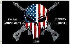 2nd Amendment Liberty or Death Punisher Skull Flag Gun Rights Patriots America