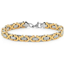 Mens Silver and Gold 2 Tone Stainless Steel Bracelet 8 1/2 inches