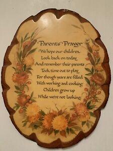 Vintage Parents' Prayer Wood Tree Slice Wall Plaque Folk Art Bark Handmade Rare