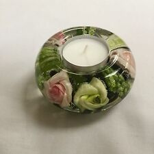 GLASS CANDLE HOLDER HAND MADE FLORAL DESIGN (GREEN)