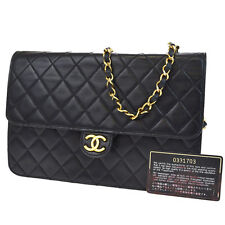 Auth CHANEL CC Logos Matelasse Quilted Chain Shoulder Bag Leather Black 31Q597