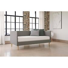 Modern Mid Century Daybed Retro Couch Sofa Day Bed Soft Grey Linen Upholstery