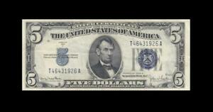 """1934-D UNITED STATES SILVER CERTIFICATE $5 """"T"""" (( EF ))"""