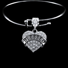 Blessed Bracelet christian religious best jewelry gift  crystal heart charm
