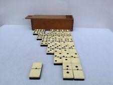 Boîte de dominos ancien en ébène et os environ 1900