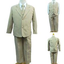 Stone Khaki Kid Child Teen Boy Formal Wedding Party Tuxedo 5 pc Suit New 14-20