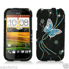 HTC ONE SV Cricket Boost Diamond Hard Snap-On Case Cover Black Blue Butterfly