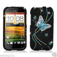 HTC ONE SV Cricket Boost Diamond Hard Snap-On Case Cover Black Blue Butterfly