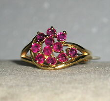 SOLID 14K  Gold   RUBY   Fashion   Cluster  Ring