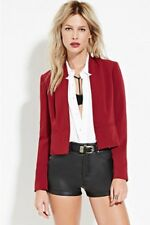 * NEED $ SALE * NWT Forever 21 BURGUNDY Classic Crepe Woven Blazer Jacket S
