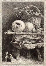 EAU FORTE / Fables de la Fontaine 1883 / LE RAT QUI S'EST RETIRE DU MONDE
