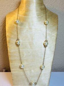 J.Crew Necklace Gold chain Strand Pearl Rhinestone Strand elegant Flashy Couture