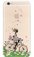 Coque gel souple incassable motif fantaisie pour iPhone SE (Fille à vélo)