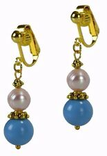 Clip On African Turquoise & Pearl Gold Fashion Earrings By Grace Of New York