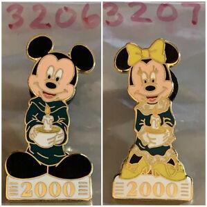DLR DISNEYLAND 2000 Candlelight Processional 2 PIN Mickey & Minnie #3206 & #3207