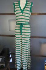 Gino Paoli Dress Maxi Striped Metallic Threading Waist Tie Sz 10