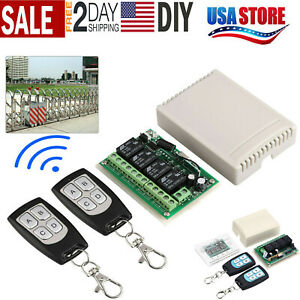 2 Transmitter +12V 4CH Channel Relay RF Wireless Remote Control Switch Receiver