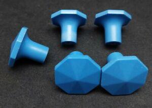 5 BAKELITE blue draw knobs pull RARE MCM Mid Century