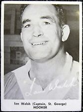 1967 DAILY MIRROR RUGBY LEAGUE  PHOTO CARDS ~ IAN WALSH ~ ST GEORGE DRAGONS