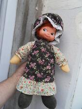 Peluche doudou poupée chiffon doll tete plastique VIR 70's style Holly hobbie