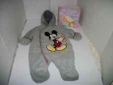 Infant Size 0-3 month DISNEY BABY, MICKEY MOUSE Fleece outerwear & FREE Book EC