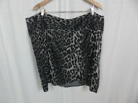 Lane Bryant Women's Gray Leopard Print Faux Wrap Straight Pencil Skirt Size 28