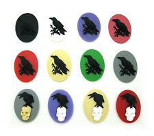 40mm x 30mm Goth Steampunk Cameos Lot 12 assorted Raven & Skull Crow Black Bird