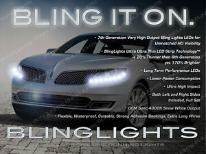 Lincoln MKS White LED DRL Head Light Strips Day Time Running Lamps Kit Set Pair