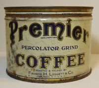 Old Vintage 1940s PREMIER COFFEE KEYWIND COFFEE TIN ONE POUND NEW YORK LEGGETT