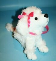 White Plush Poodle Dog Purse Stuffed Animal Soft Toy Pink Bows Bling Handle Zips