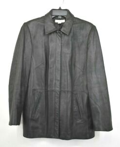 Casual Corner Women Black Long Sleeve Full Zip Faux Leather Seam Pocket Jacket L