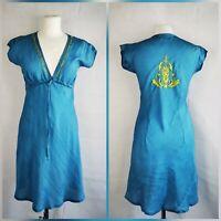 Bellaju Blue Silk Summer Sun holiday short Dress Yellow Embroidery Small 10
