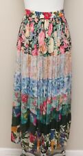 Womens Small Billa Multicolor Layered Floral Indian Cotton Skirt