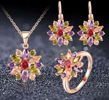 18K ROSE GOLD FILLED NECKLACE EARRINGS RING SET MADE WITH SWAROVSKI CRYSTALS 8Q