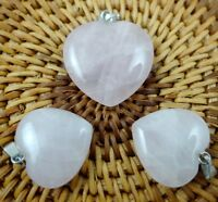 3PC Unique Rose Quartz Heart-shaped pendant Gem necklace earring Jewelry Making