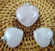3pc Unique Rose Quartz Heart-shaped Pendant Gem Necklace Earring Jewelry Making