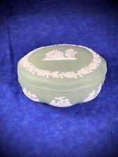 Jasperware Wedgwood Sage Green Round Scalloped Bonbon trinket Box With Lid Nice