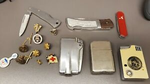 Vintage Estate Junk Drawer Lot! 10kgf Pins,Vintage Lighters, Case Knife & More!