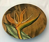 Vintage Bird of Paradise Tropical Hand Painted Folk Art Wood Plate Wall Décor