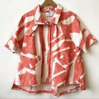 NWT Pearl by Lela Rose Half Sleeve Zip Up WhiteOrange Jacket Women's Size Large