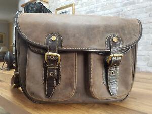 Visconti Brown Leather Laptop Cross Body Bag / Satchel